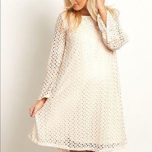 Pinkblush Maternity Cream/Beige Open Knit Dress